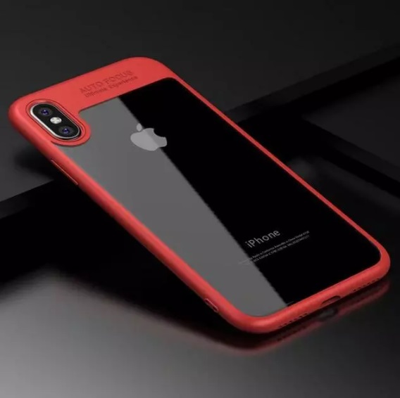iPhone X Shell cover Red and Clear