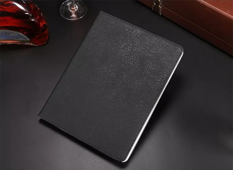 iPad Litchi Stria Grain PU Leather Book 2017/2018 Black