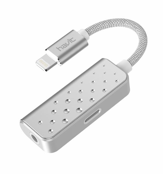 Havit Lightning to lightning and 3.5mm audio jack White Silver