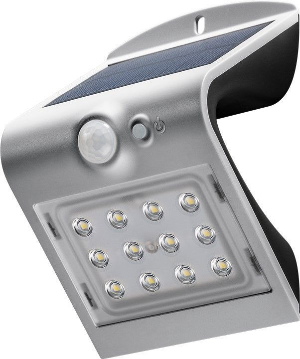 LED solar wall light with a motion sensor, 1.5Â W, silver - ideal lighting solution for building entrances, carports, staircases and access paths