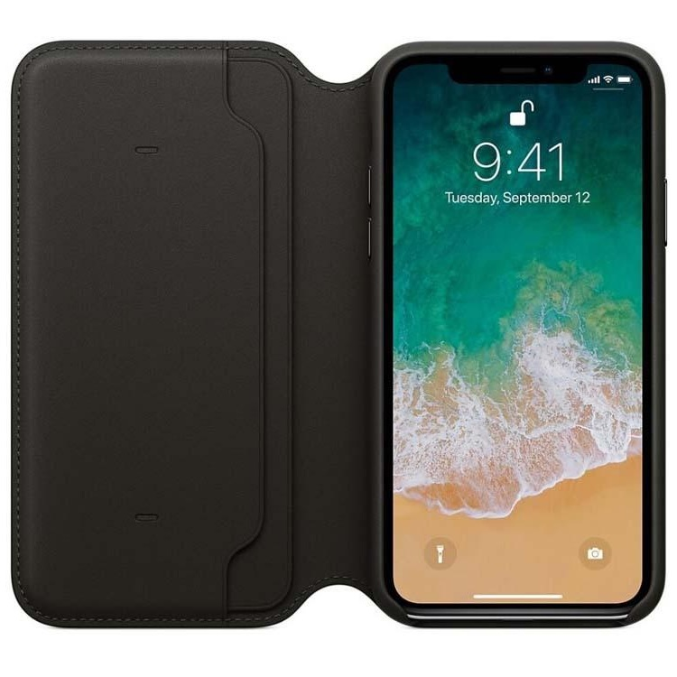 iPhone X Wallet Flip Case Black PU Leather
